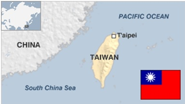 A map and flag of Taiwan