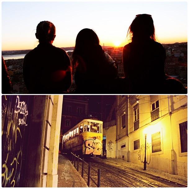 Zachód słońca na miradouro z widokiem na całą Lizbonę oraz wspinaczkowa górka na Bairro Alto ;) (oraz żółty tramwaj w rodzaju windy)