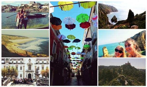 Po prawej od góry: Porto, Nazaré, Coimbra; w środku: Setúbal; po lewej od góry: Cabo da Roca, Algarve, Sintra